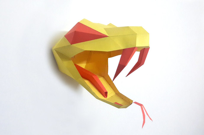 DIY Papercrafts,Snake head Trophy,paper snake,Printable snake head,Origami