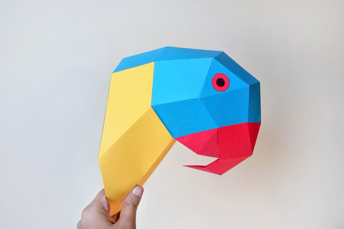 Creattive 3D Low Poly Puzzle for Kid,Multi Color Options,Accessories Included Parrot DIY Paper Craft Kit,Pre Cut 3D Papercraft for decoration with Quality Paperstock ,100/% Recycled