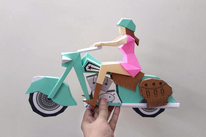 Papercraft,DIY Motor bike with lady rider,3d papercraft, DIY paper