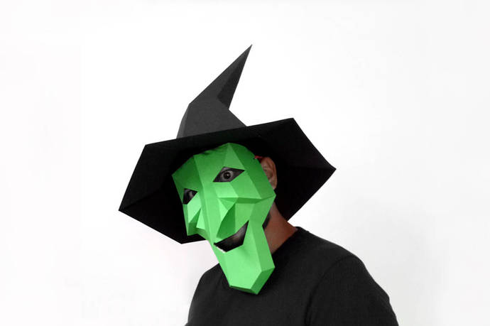 Halloween Witch mask and Hat,Witch mask,Witch costume,Halloween costume,DIY