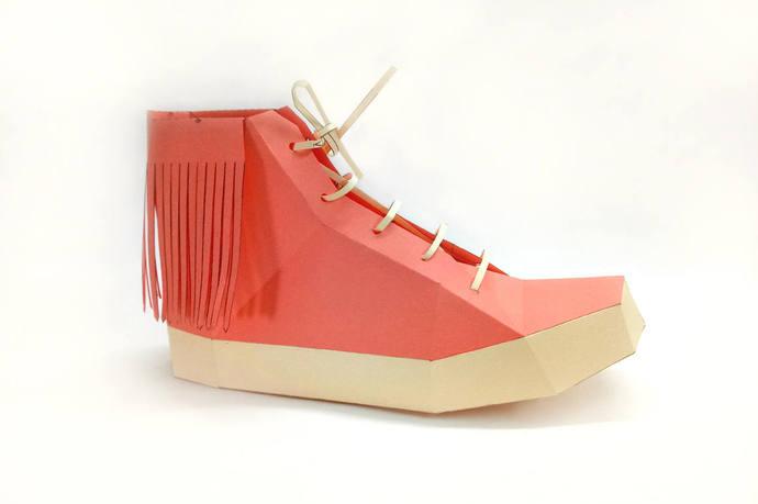 Papercraft,Fringes shoe,Printable shoe,Boots, digital download,Shoe model,DIY