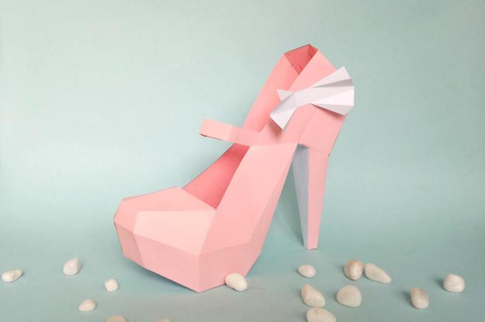 DIY paper model, High Heel Shoe, 3d Papercraft, Instant digital download,