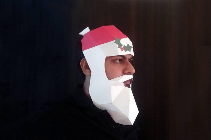 Santa Claus Low poly Mask,Santa mask,DIY Mask,Christmas party,Christmas