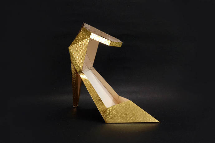 Golden High heel shoe,3d papercraft,Papercraft shoe,Gifts for her,Low poly