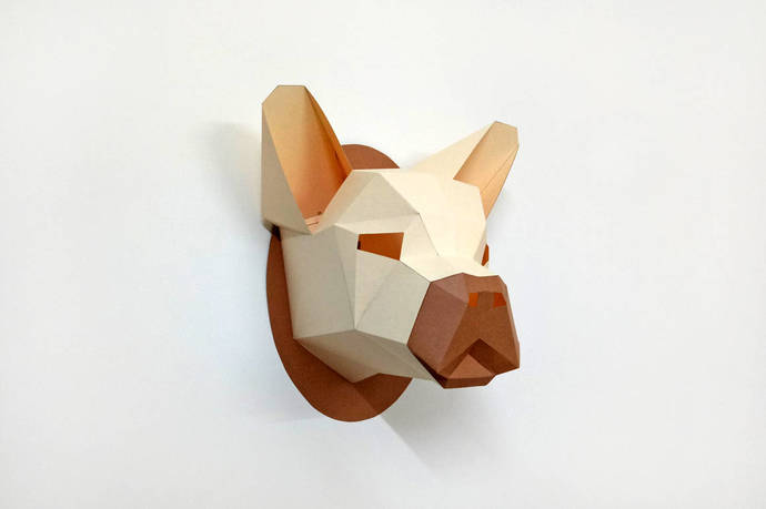 French bulldog head trophy,3d papercraft,DIY papercrafts,Low poly,Animal  head,DIY kits,DIY gifts,Origami,Digital download,Pug dog trophy