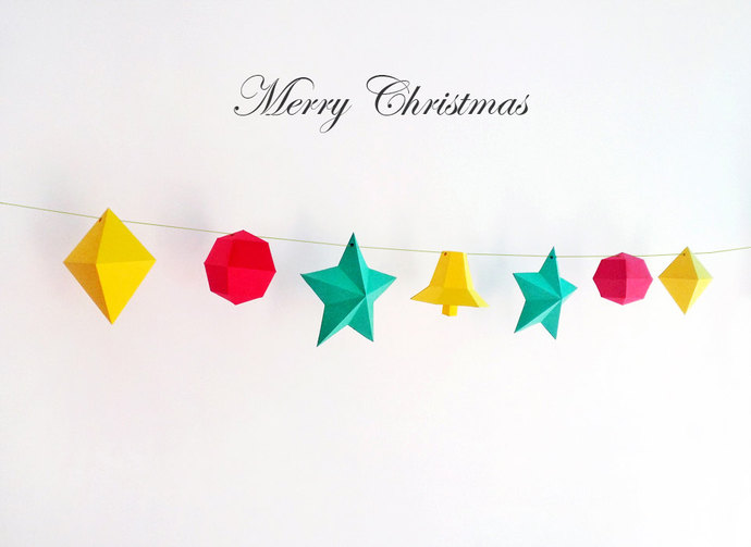 Diy Christmas Bunting Wall Decor Wall By Paperamaze On Zibbet