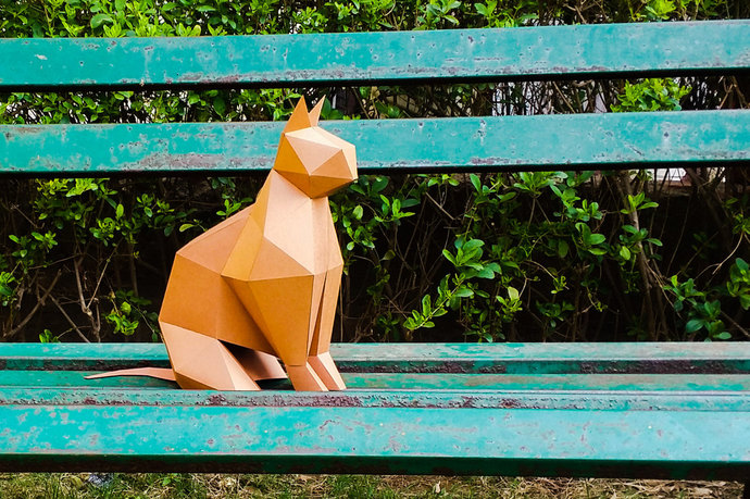Cat Model , Cat Low poly, Cat Sculpture, pet , Cat Kit, Papercraft Kit, DIY Cat,