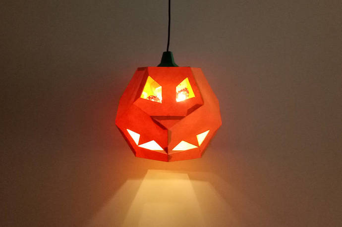 Halloween Pumpkin lamp,DIY paper craft,Papercraft,3d papercraft,Halloween