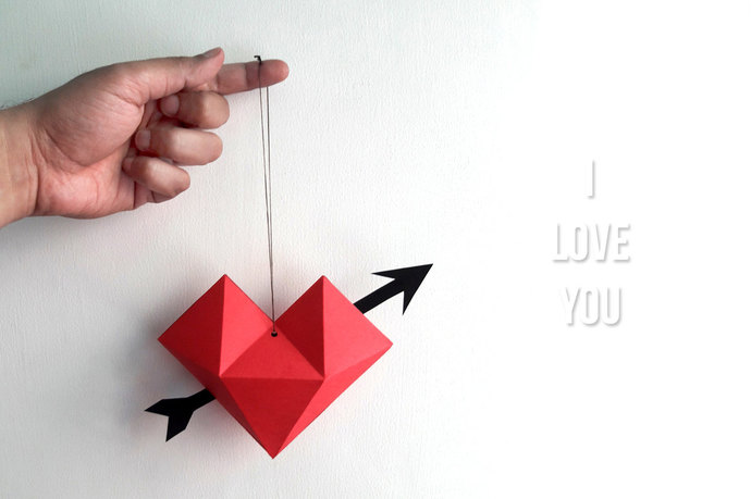 DIY Heart dangler,Valentine's Day,Love,Little heart,Heart with arrow,paper