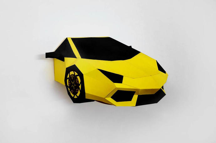 DIY papercrafts,Yellow Sports car,Printable by Paperamaze on Zibbet