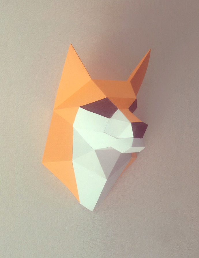 DIY Fox head trophy, printables,PDF, Instant digital download, Lowpoly fox,