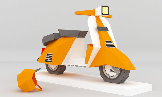 Diy Paper Scooter Papercraft 3d Paper Model By