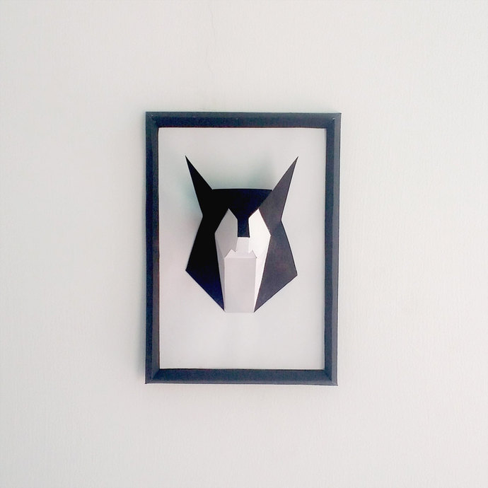 DIY Paper Fox Frame,wolf, by Paperamaze on Zibbet