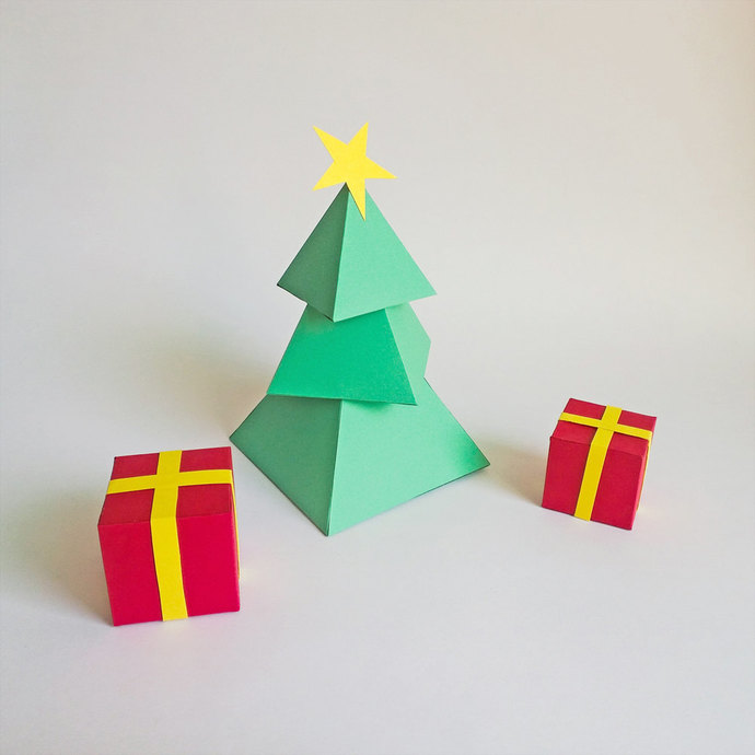 Diy Paper Christmas Tree With Gift Boxes By Paperamaze On Zibbet