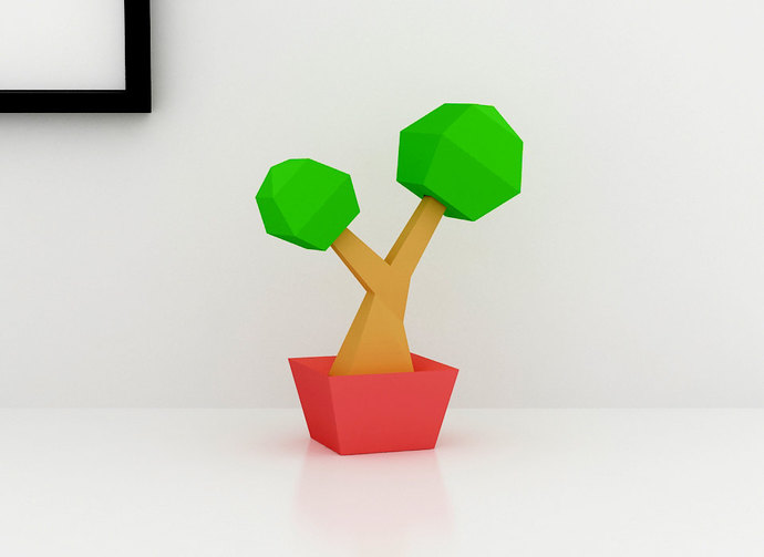 DIY Lowpoly Bonsai Tree, paper Tree, Paper Bonsai Tree, paper plants,