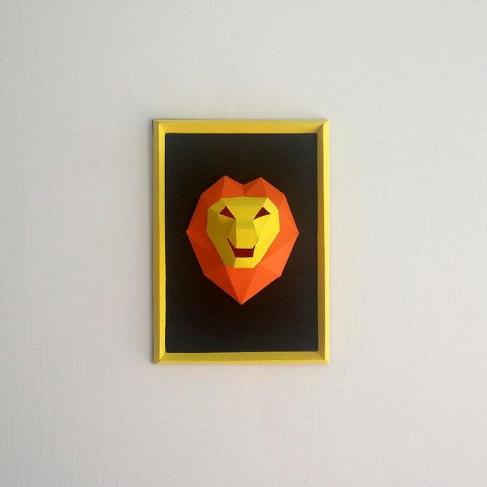 DIY Baby Lion Frame, Smiling Lion, Papercraft,Wall mount frame,Wall decor,Kids