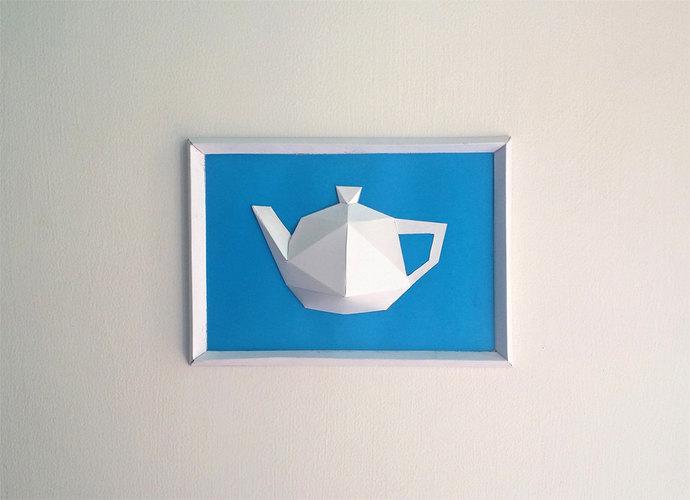 DIY Paper kettle Frame, Papercrafts, Paper kettle, Wall decor, Wall art,