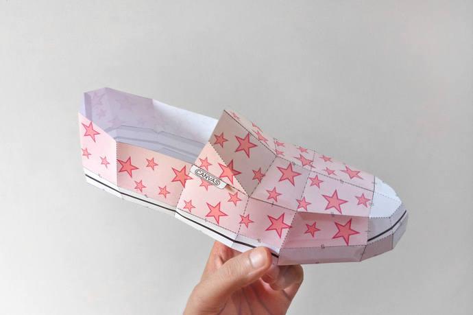 DIY Paper craft,Paper shoe,Canvas shoe,digital download,3d