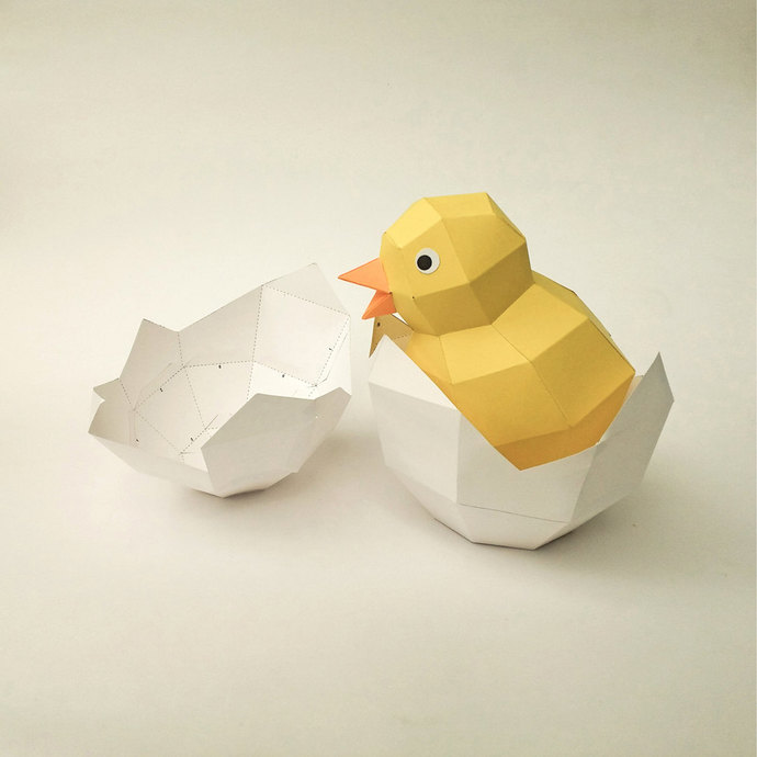 DIY Cute Yellow Chick in hatched Egg, home decor, DIY papercrafts, 3d puzzle,