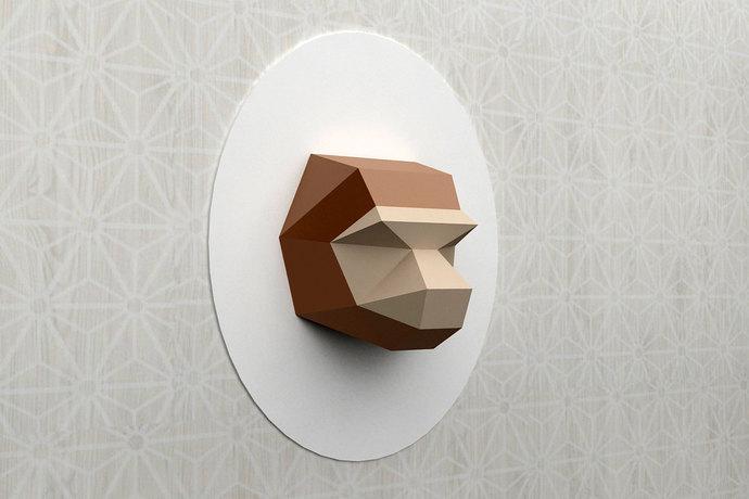 DIY Monkey head - Wall mount Trophy,Paper Monkey,Printable Monkey,3d