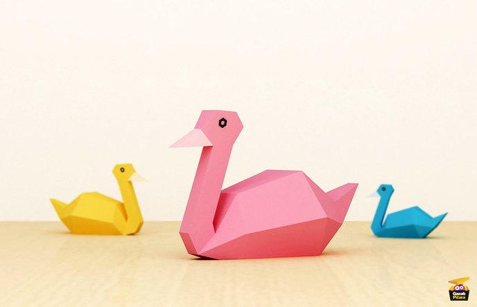 Papercraft swan, DIY Printable Papercraft, Digital download, 3d puzzle,