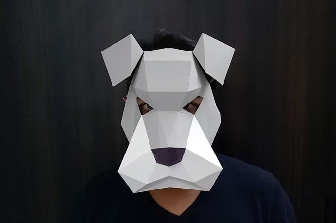 DIY Schnauzer Mask - 3d papercraft