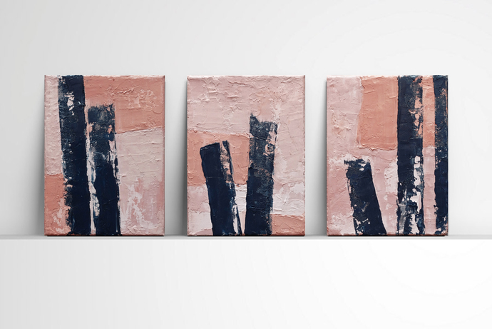 Set of 3, textured, contemporary art, modern art, unique wall art , abstract