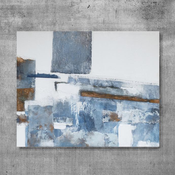 collage Original Fine Art Abstract light blue by SemelArt on Zibbet