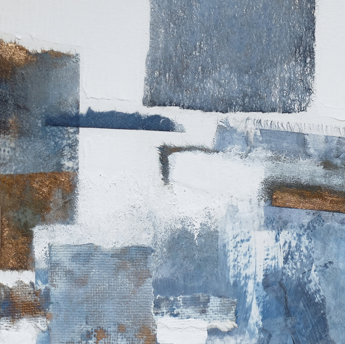 collage, Original Fine Art Abstract, light blue and white, textured art, small
