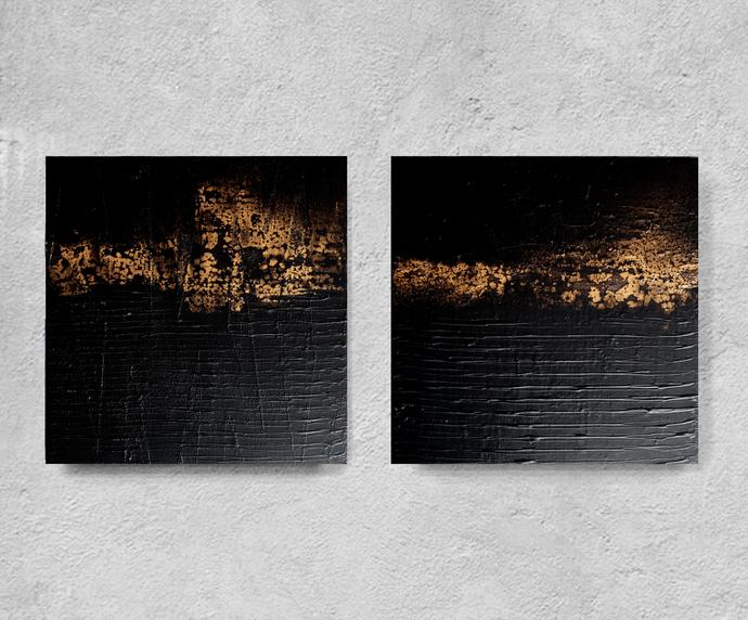 set of 2, Original Art, Black decor , wall hanging, custom word art, diptych