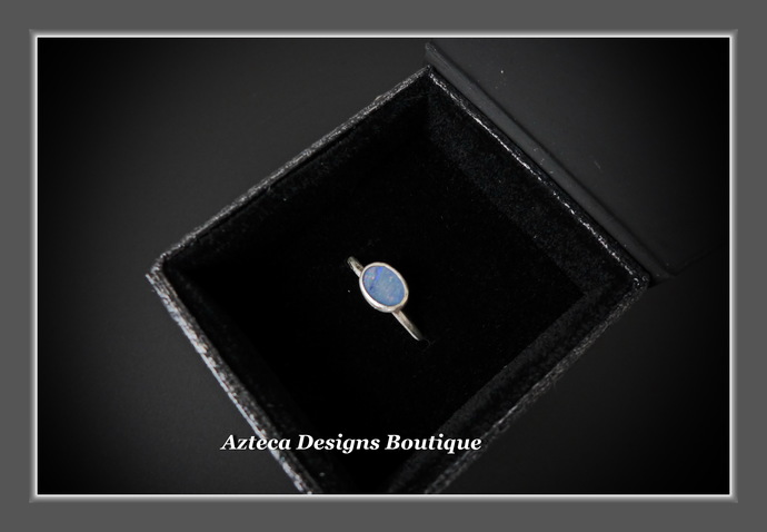 Size 6 Australian Opal Doublet Hand Fabricated Argentium (93.5) Silver Ring