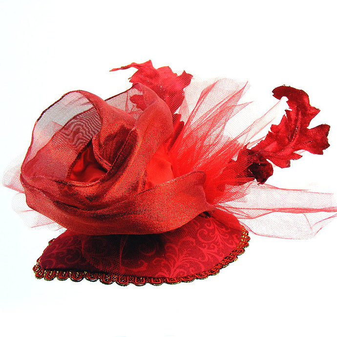 "Red FASCINATOR ""Rosie"" Red teardrop base with Large Ribbon Rose, netting, Red"