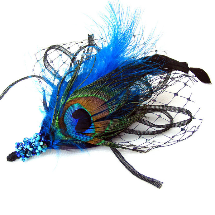 "Fantasy HAIR CLIP Peacock Blue ""Bessie"" for Dressing up, Party, Prom, Evening"