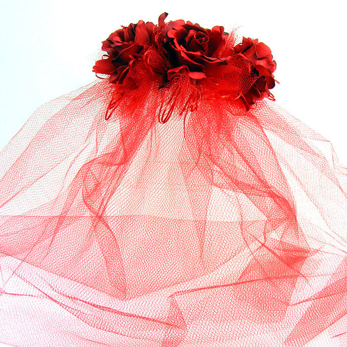 "Red Bride ""Lillian"" Large Red  Roses on a matching headband, 3 layers of"