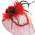"Red Sinamay HAT ""Ruby"" Red Roses, Netting, Feathers, Ribbons, Red Hat Luncheon,"