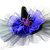 "Mini Witch HAT ""Violet"" Bright Purple Ruffle Gathered row of black netting, hand"