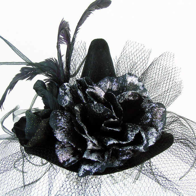 "Mini Witch HAT ""Serena"" Glitter-Glam Small Black Hat with Netting Veil Black"