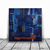 original painting, 12x 12 painting , navy blue and copper, 3D wall art,