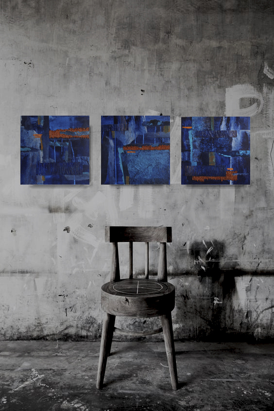wall abstract art, 12x 12 painting, set of 3 , navy blue and copper, 3D wall