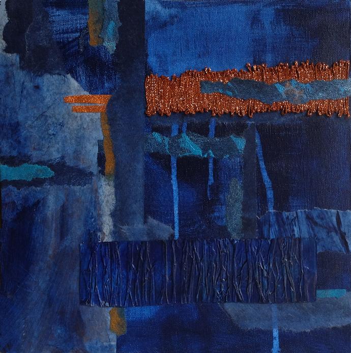 Home decor, 12x 12 painting, set of 3 , navy blue and copper, 3D wall art, aqua,