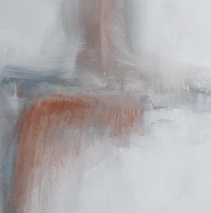 Art, small abstract, white art painting, 12x12 , Original textured , orange and