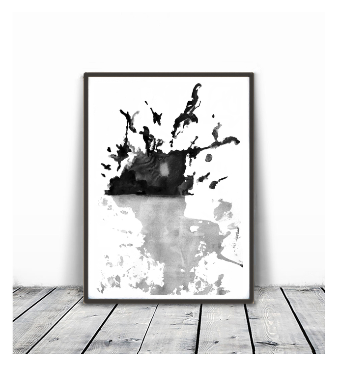 Black white wall art prints modern contemporary abstract wall art brush