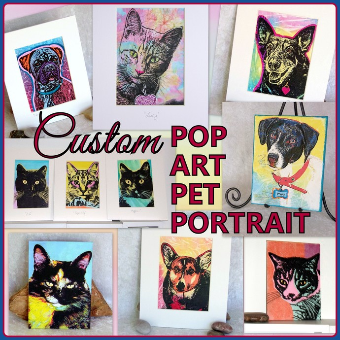 Custom Pop Art Pet Portrait, made to order from your photo