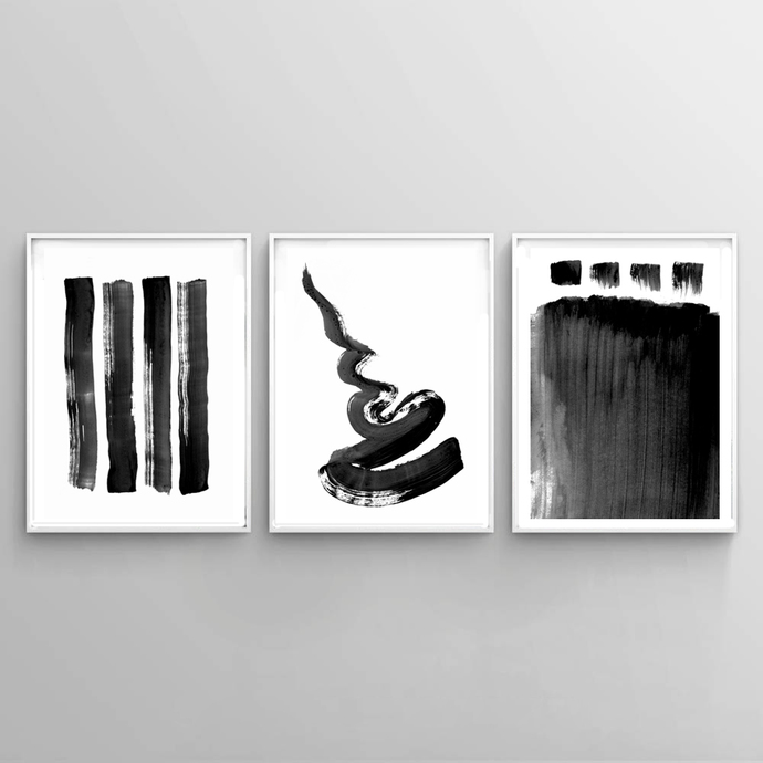 Black white contemporary art set of 3 prints abstract painting urban wall
