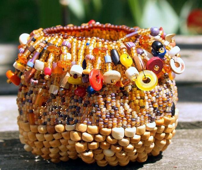 Tribal Magic- handmade beadwoven basket