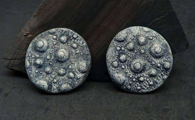 Pair of 28mm Urchin Cabochons or Beads - Handmade Faux Gray Basalt Rock for Bead