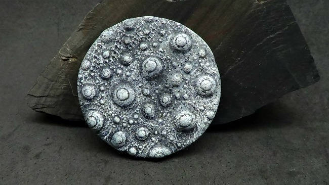 36mm Urchin Cabochon or Bead - Faux Gray Basalt Rock