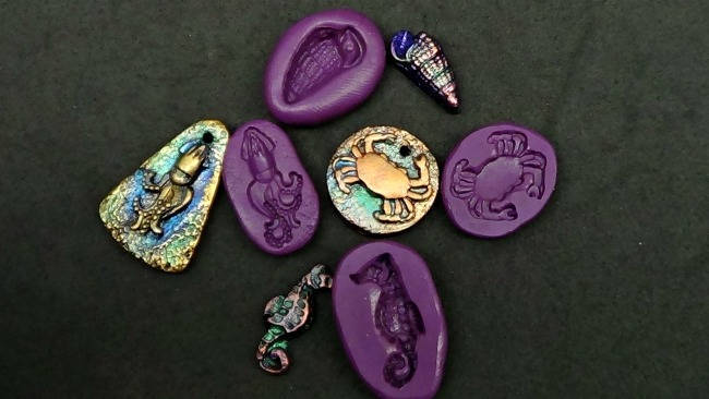 4 Beach themed mini molds no3 - flexible silicone rubber - for polymer clay,