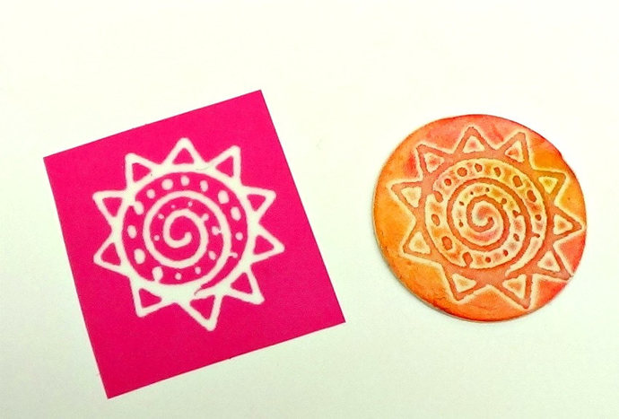Sun and Spiral Design Silkscreen for Polymer clay and Crafts