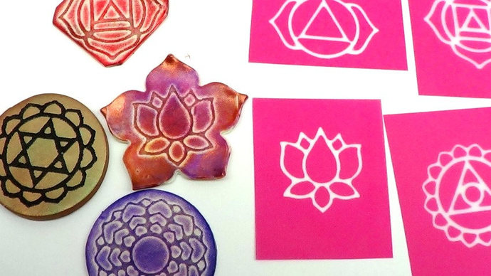 8 Chakra and Lotus Silkscreens for polymer clay, paper, fabric, glass, metal and
